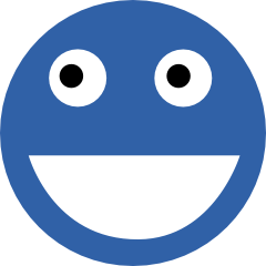 Logo for HAPPY CODING. A funny smiley in blue and white